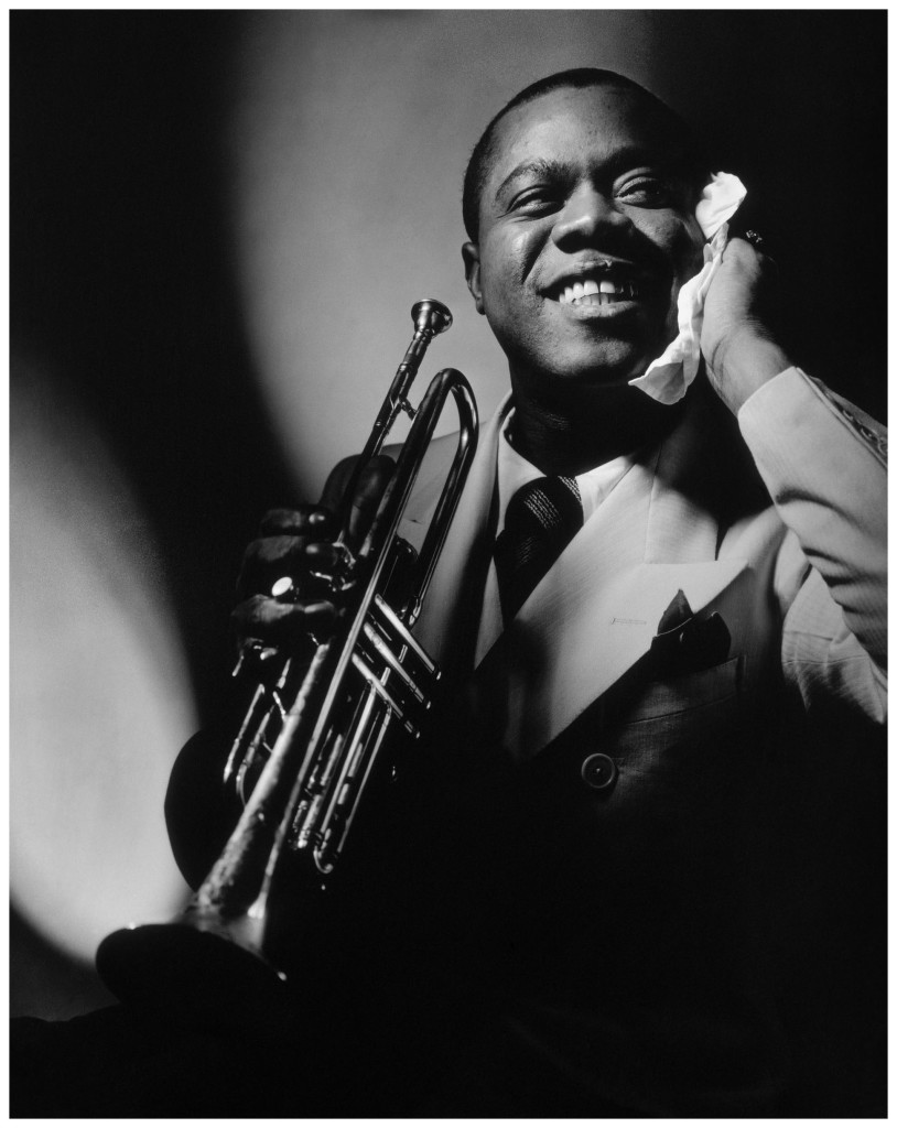Jazz great Louis Armstrong with trumpet