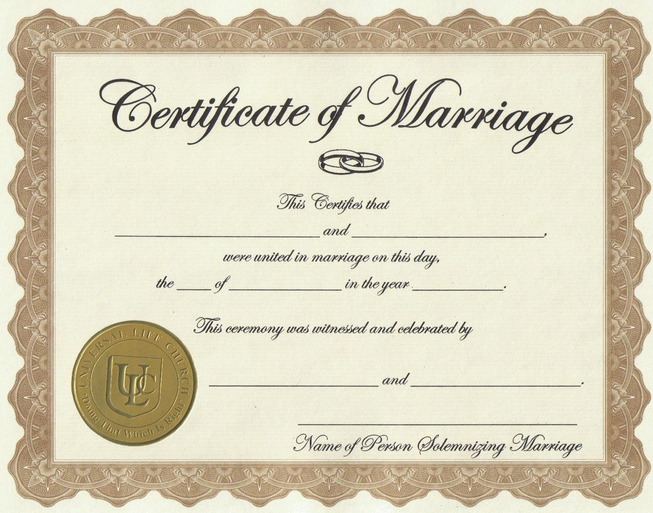 marriage license - Жизнь в США