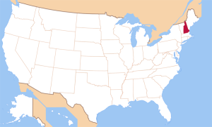 Нью-Гэмпшир на карте Соединеннх Штатов